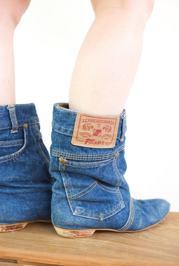 Сапоги из старых джинсов